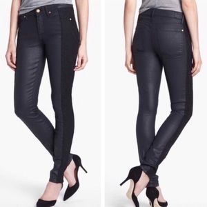 7 for all mankind black coated lace skinny jean 27